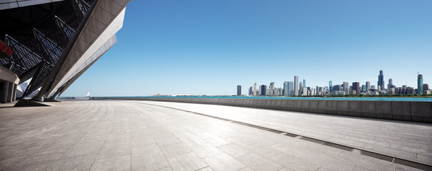 Fototapete - empty ground with skyline