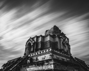 Wat Chedi Luang temple in Chiang Mai long exposure