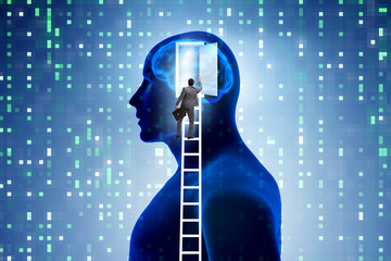 Businessman opening door to artificial intelligence