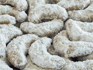 Crescent Cookies with Powdered Sugar Closeup