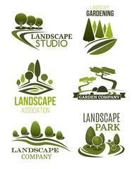 Landscape design icons with green trees