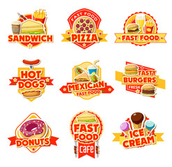 Fast food labels of burgers, drinks and dessert
