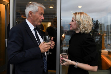 Liechtenstein Foreign Minister Aurelia Frick speaks to Secretary-General of the Council of Europe Thorbjorn Jagland during the International Peace Institute's Annual Ministerial Dinner on the Middle East in New York