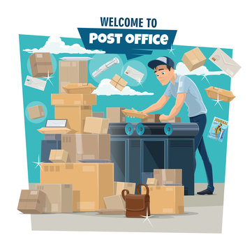 Postman sorting mail and parcels at post office