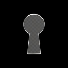 Black keyhole shape isolated on a transparent background.