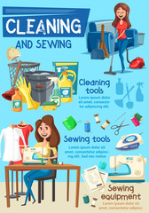 Housework, cleaning and sewing tools