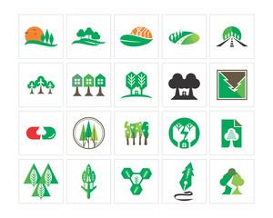 variation mixed green house natural image vector icon logo symbol set