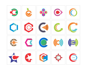 variation mixed abstract alphabet typography image vector icon logo symbol set