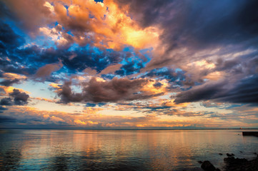 Fantastic sunset clouds over horizon of Lake Superior