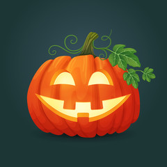Happy smiling orange oval pumpkin with green leaves and vines illuminated from the inside. Halloween vector icon.