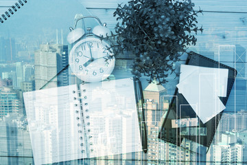 Double exposure of Office supplies or office work essential tools items with city background