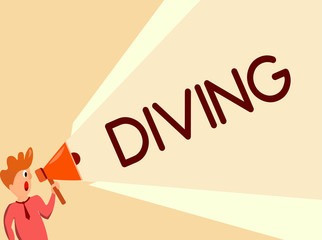 Writing note showing Diving. Business photo showcasing sport or activity of swimming into water using oxygen and suit.