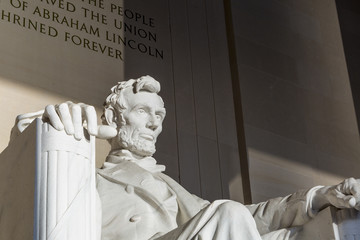 Abraham Lincoln Statue at Memorial monument Washington DC