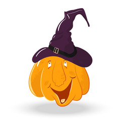 vector pumpkin head portrait with happy emotions for celebration of halloween. pumpkin laughs, smiles, laughs. live pumpkin character in purple witch hat