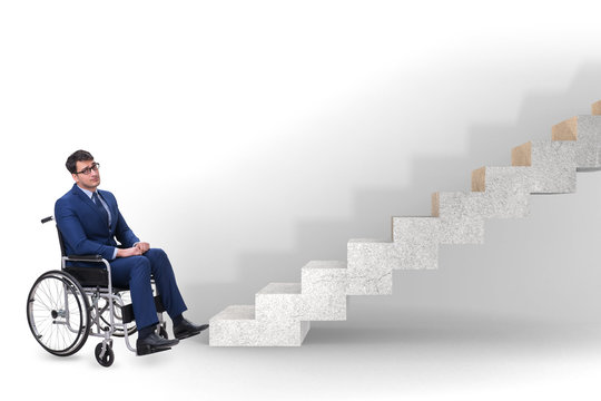 Accessibility concepth with wheelchair for disabled
