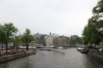 Amsterdam canal on rainy day