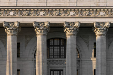 Closeup of four pillars of the New York State Education Department building