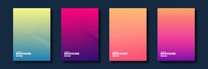 Minimal cover design. Halftone gradients, abstract geometric background. Set of abstract patterns for cover design in warm colors