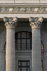 Closeup of two pillars of the New York State Education Department building