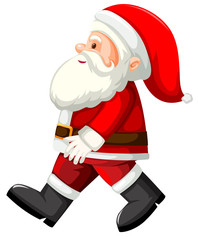 Santa walking white background
