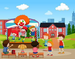 Clown stage performance scene