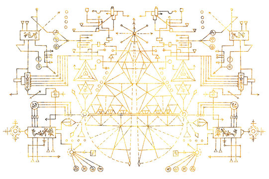 Geometric scheme with golden lines, figures, angles, triangles on white. Esoteric, occult, new age and wicca concept, fantasy pattern with mystic symbols and sacred geometry