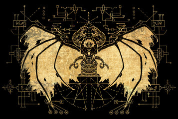 Evil winged demon with geometric lines on black background. Esoteric, occult, new age and wicca concept, Halloween illustration with mystic symbols and sacred geometry