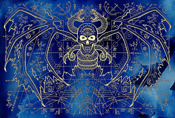 Demon skull and snake with geometric lines and mystic symbols on blue. Esoteric, occult, new age and wicca concept, Halloween illustration with mystic symbols and sacred geometry