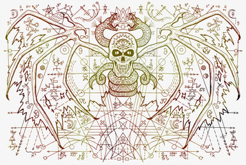 Demon skull and snake with mystic geometric symbols on white. Esoteric, occult, new age and wicca concept, fantasy illustration with mystic symbols and sacred geometry