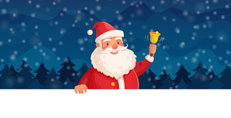 Cartoon christmas Santa Claus. Winter holiday, Happy New Year frame or Xmas vector header background