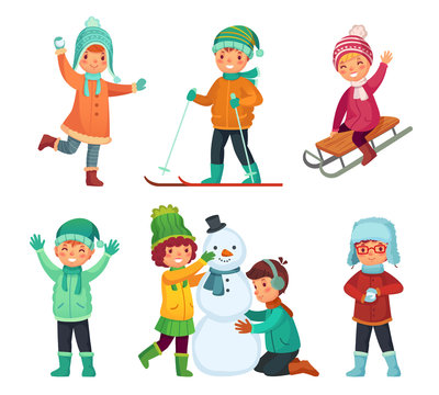 Cartoon winter kids. Children play in winters holiday, sledding and making snowman. Childrens characters vector set