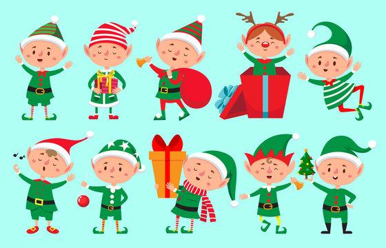 Christmas elf character. Santa Claus helpers cartoon, cute dwarf elves fun characters vector isolated
