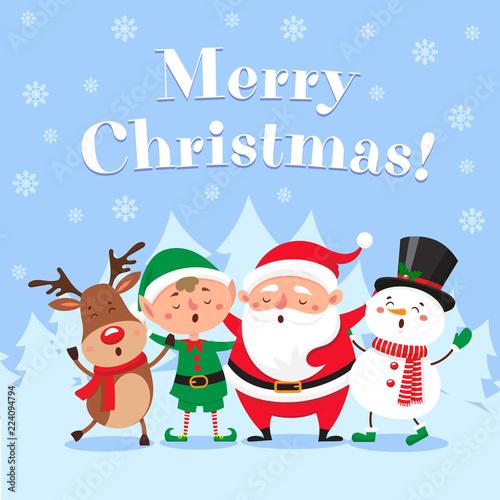 Cute christmas greeting card. Singing Santa Claus, funny snowman and ...