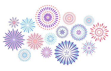 Festive fireworks. Celebration party firework, festival firecracker and colorful sky fire explosion stars isolated vector background