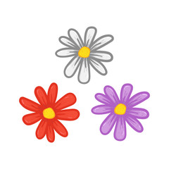 Set cartoony daisy flower petal hand drawing illustration