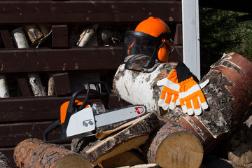 Chainsaw with accessories