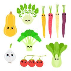 Набор цветных рисунков весёлых овощей в стиле каваий. Тыква, фенхель, морковь, брокколи, белый лук, китайская капуста, томаты черри.