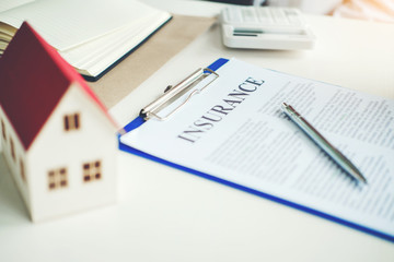 Sign agreement contract, Insurance Home concept