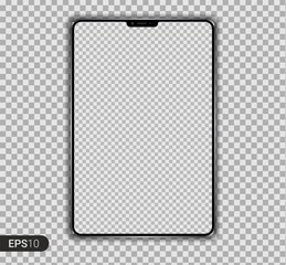 New Realistic Tablet PC Computer with Isolated on transparent Background. Can Use for Template, Project, Presentation or Banner. Pad. Electronic Gadget, Device Set Mock Up. Vector Illustration.