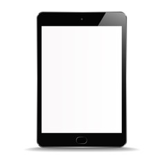 New Realistic Tablet PC Computer with blank Screen Isolated on white Background. Can Use for Template, Project, Presentation or Banner. Electronic Gadget, Device Set Mock Up. Vector Illustration