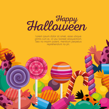 halloween card with sweet candies