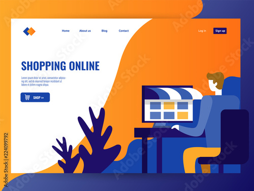 man shopping on online web store website landing page template