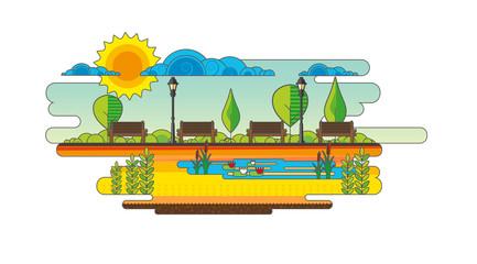 Public park. Vector Flat illustration.