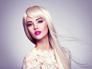 Beautiful  woman with long white straight  hairs and bright make-up
