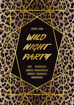 Luxury Wild Party Invitation Card with Leopard Print