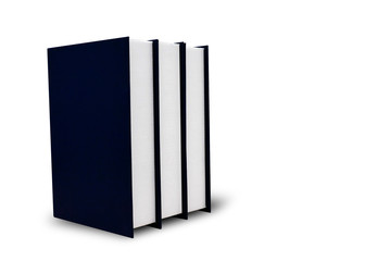 The blue hardcover book is located on a white background with clipping path