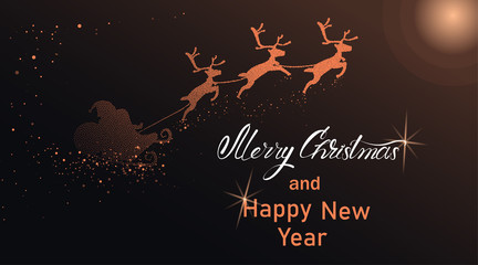 Merry Christmas and Happy New Year card with Santa Claus and deers.
