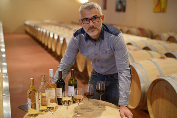 Man standing in winery around table