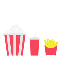 French fries potato in a paper wrapper box. Popcorn. Soda drink glass with straw. Fried potatoes. Movie Cinema icon set. Fast food menu. Flat design. White background. Isolated.