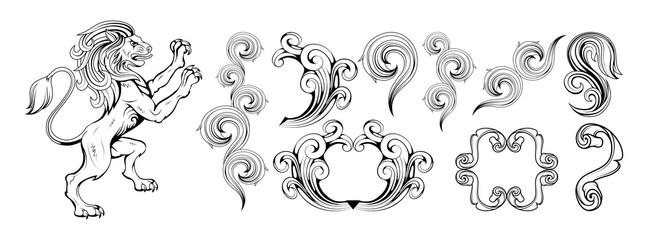 heraldry, heraldic crest or coat of arms, heraldic elements for your design, engraving, vintage retro style, heraldry animals emblem, animals logo, vector graphics to design